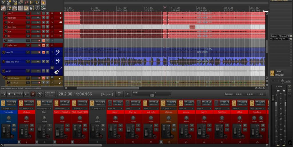 screenshot di registrazione audio su reaper